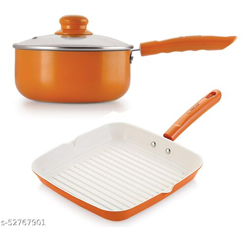 Nirlon Orange NonStick Aluminium Induction Cookware Set 2 pcs (SP18_ GP24)