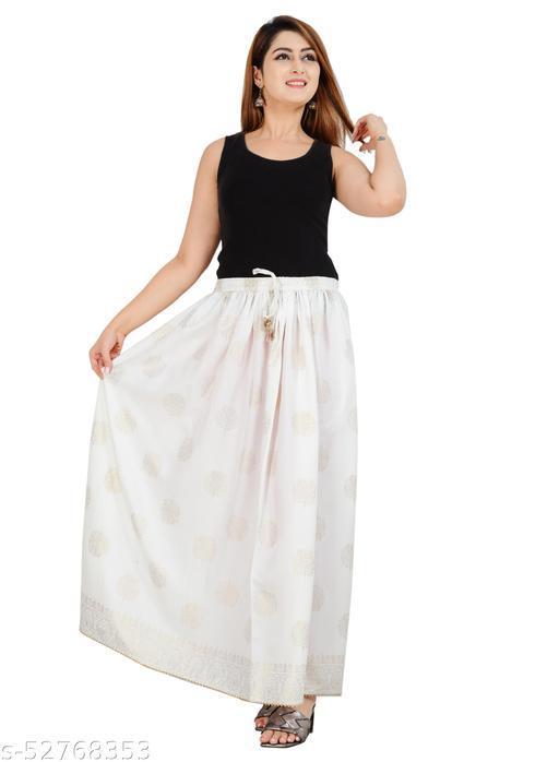 White Gold Printed Skirt