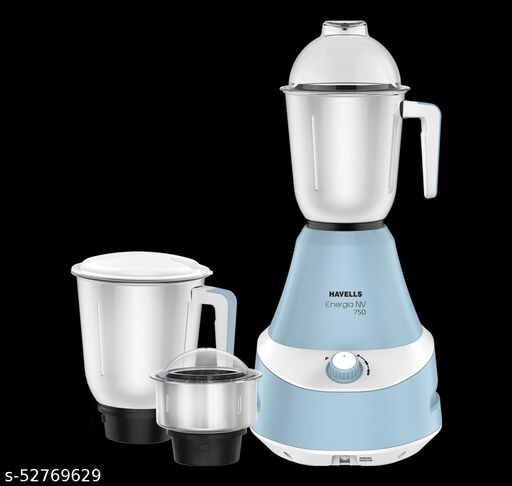 HAVELLS 750W Mixer Energia NV 750 Mixer Grinder (3 Jars, Blue)