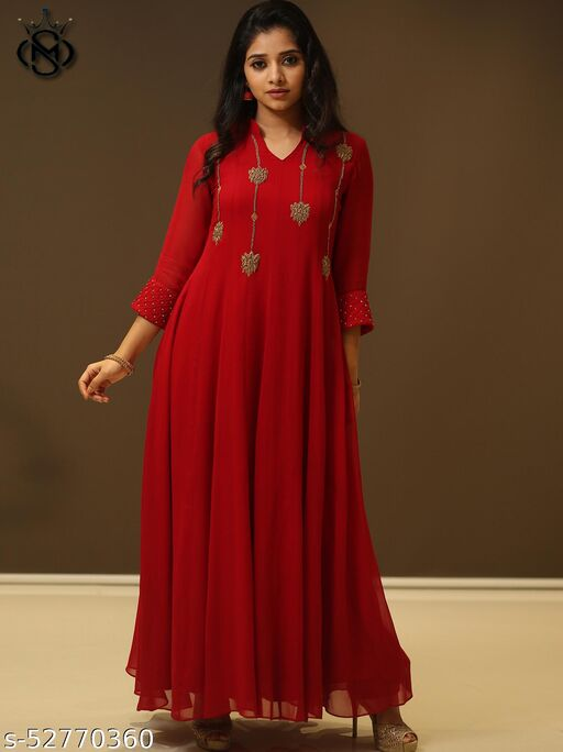 Impressive red colored embroidairy with pearl work floor touch gown