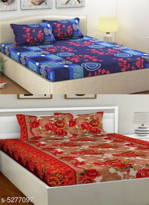 Stylish Polycotton Double Bedsheets (Pack Of 2)