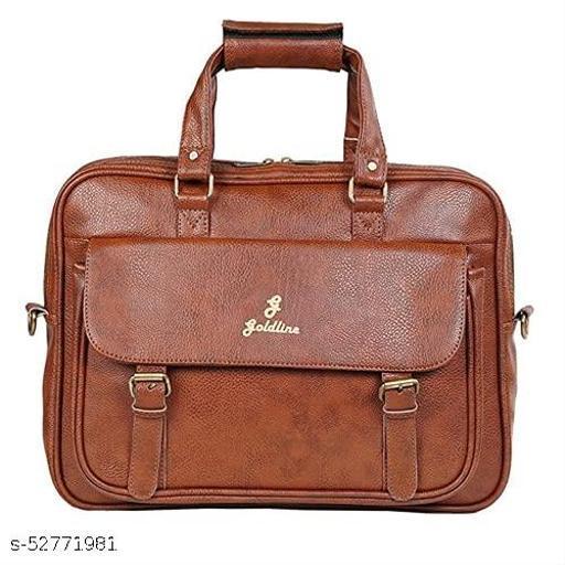GOLDLINE Shoulder Bag 20L Laptop Bag/Messenger Bag/Office Bag/Marketing Bag/Leatherette Satchel with Removable Shoulder Strap and Zippered Pockets Inside-Tan Color