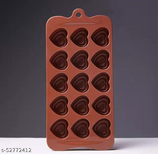 Silicone Chocolate Making Mould, Heart Shape, 15 Slots, Food Grade, Brown