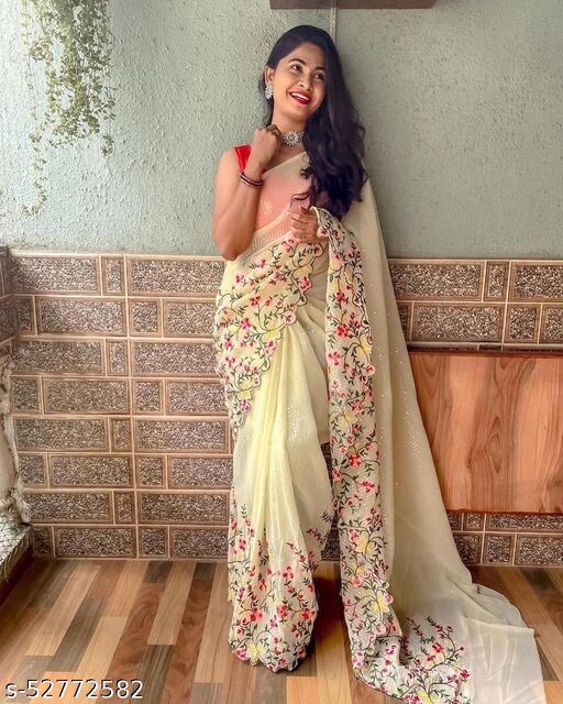 Off White Red Wedding Partywear Designer Georgette Sequence Embroidery Worked Saree With Blouse