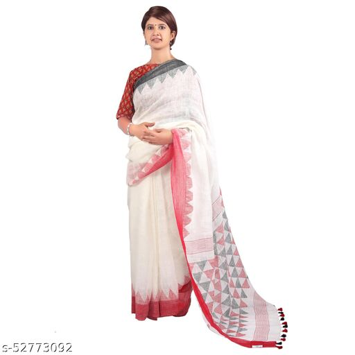 Craftiva Women's 100% Pure Linen Designer Woven Red and Off White Jamdani Saree With Unstitched Blouse