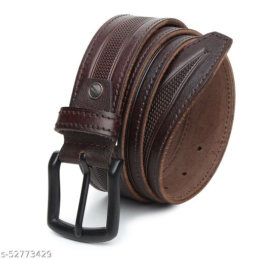 Printed Buff Leather Casual Brown Belt, Genuine Leather Belt Full Grain Leather