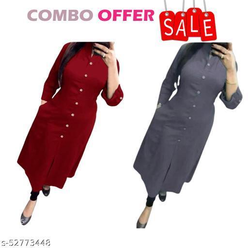 Women's Solid Cotton Plain Kurta   Combo Offer