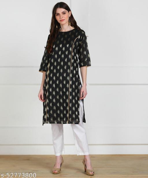 Chanderi brocade fabric chikankari work kurti
