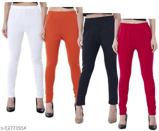 KAVYA Women Warm Wollen Solid Legging (Pack of 4)