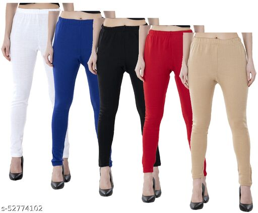 KAVYA Women Warm Wollen Solid Legging (Pack of 5)