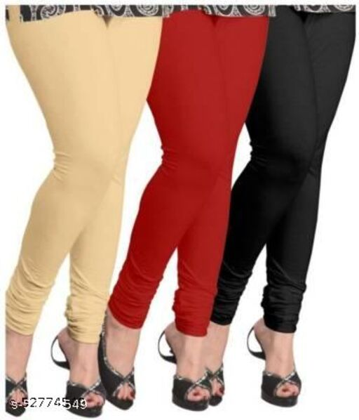 TooLook Women's Slim Fit Churidar Leggings (Free Size) Pack of 3