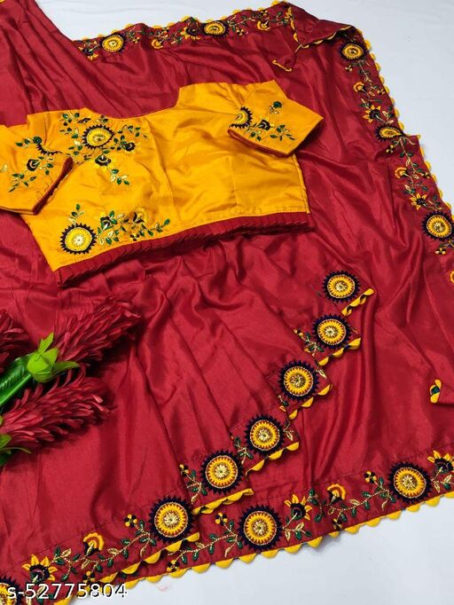 pure dola silk saree with stitched blouse