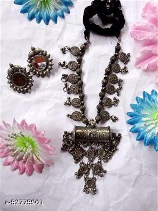 Replica heavy work necklace with mirror work earrings  jewellery Set