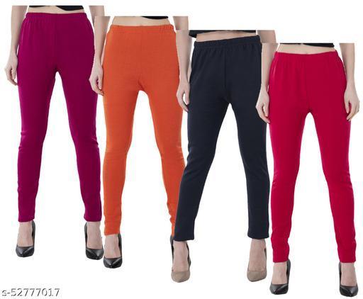 IndiWeaves Women Warm Wollen Solid Legging (Pack of 4)