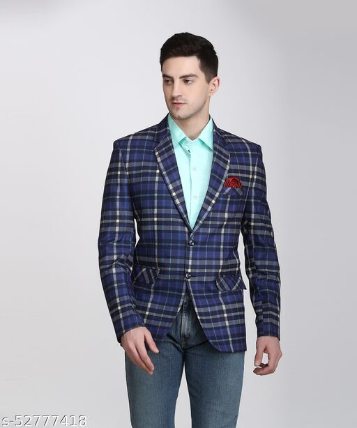 Touch Fitt 2 Button Regular Fit Printed Blazer for Men Available in 6 Size (Color-Blue)