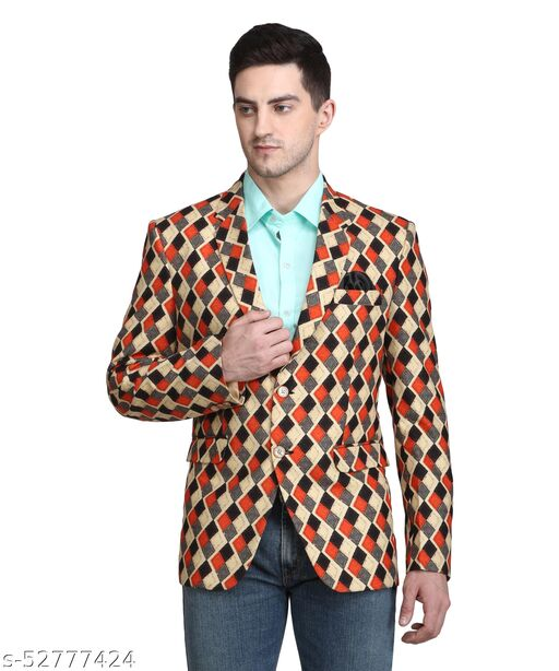 Touch Fitt 2 Button Regular Fit Printed Blazer for Men Available in 6 Size (Color-Rust)