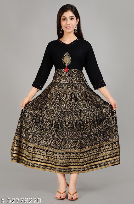 Black and gold Embroyed Rayon Anarkali Kurti