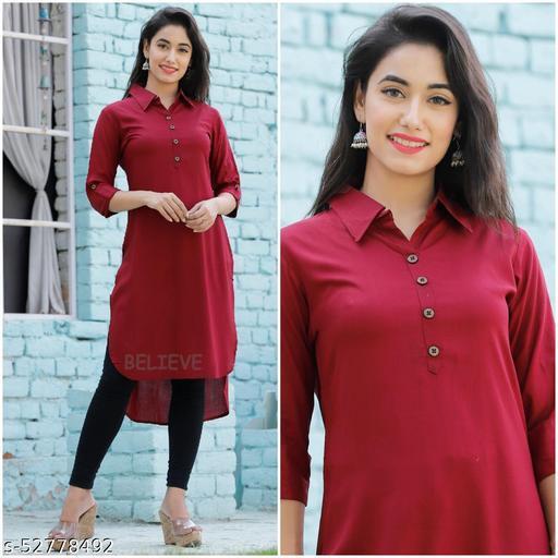Siyaram Trends Up and Down Solid Rayon Kurti