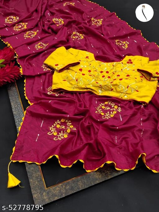 women's pure dola silk saree with stitched blouse
