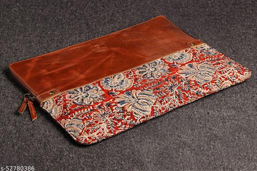 Genuine Leather & Fabric Half and Half Kalamkari/Compartment Handmade Unisex Laptop Sleeve Bag for Apple MacBook 13 Inch