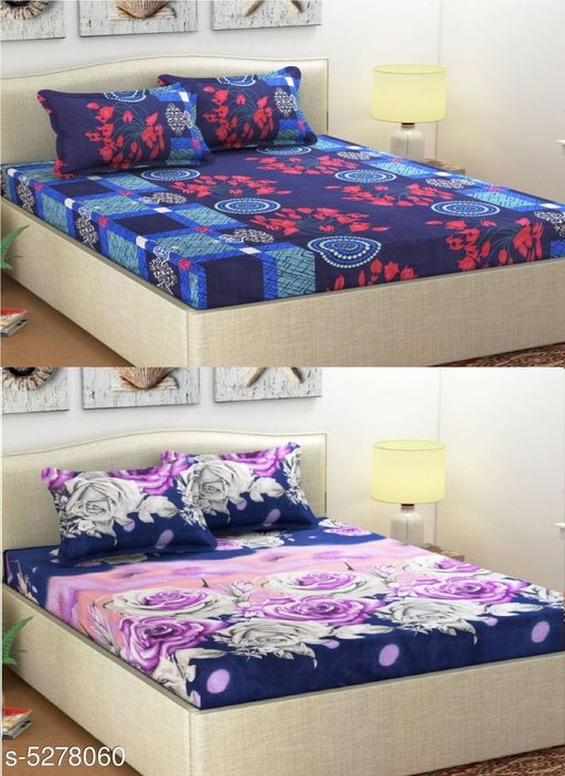 Stylish Polycotton 90 x 90 Double Bedsheets Combo (Pack Of 2)
