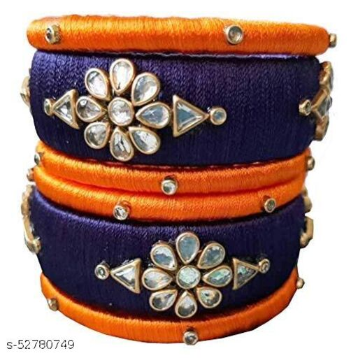Blue Color Hand Made Silk Thread Bangle set For Women