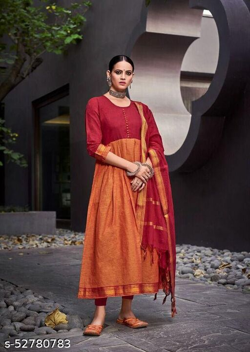 PURE SOUTH COTTON WITH JACQUARD WORKED GOWN WITH DUPATTA