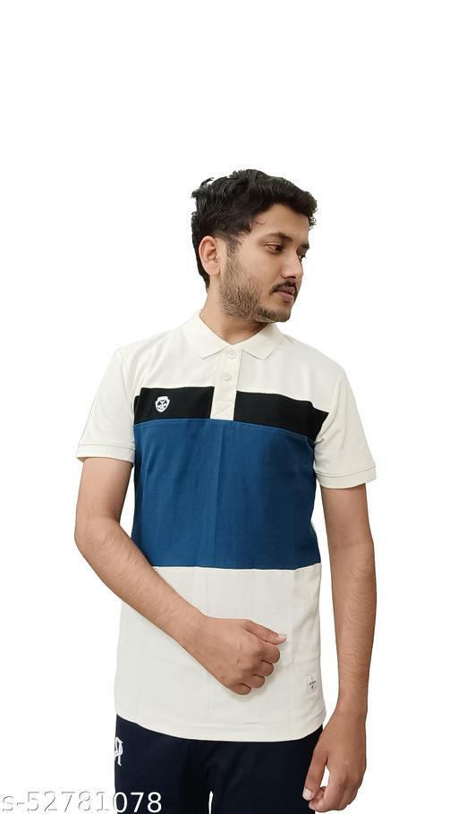 Radiology Striped Man Polo Neck Off White T-shirt