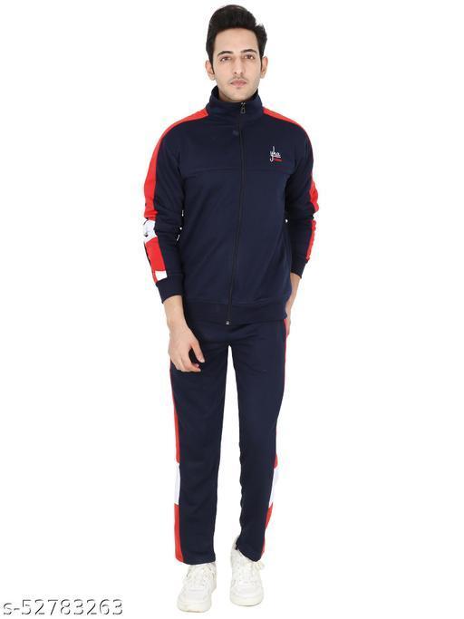 Men's Regular Fit Solid Zipper Track Suit