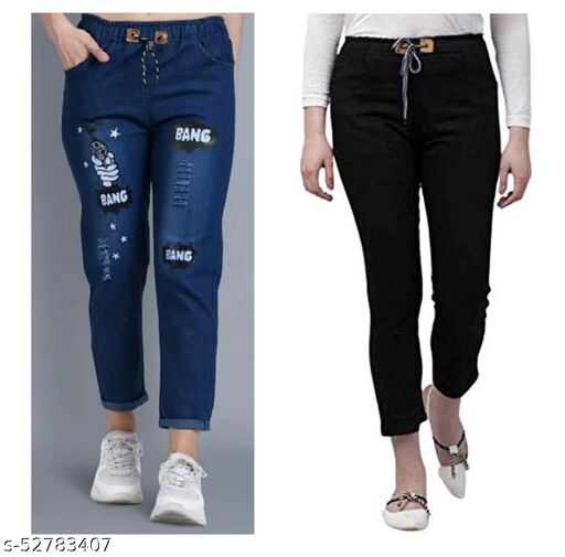 R2GPro Stretchable Denim Dhol Wash Pant and Denim Joggers for Womens Pack of 2