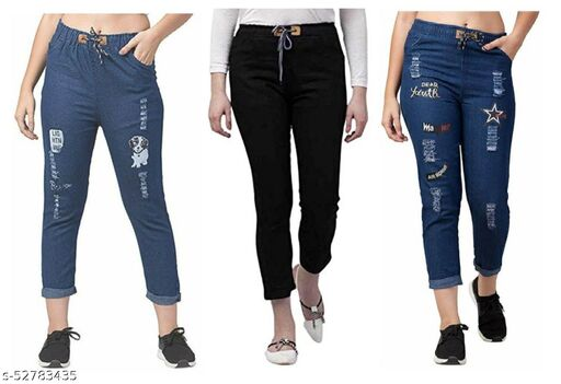 R2GPro Stretchable Denim Dhol Wash Pant and Denim Joggers for Womens Pack of 3