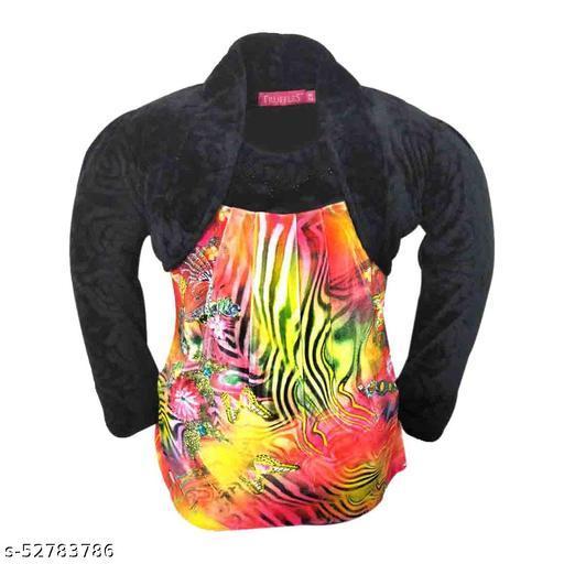Truffles Girls Black Full Sleeve Printed Velvet Winter Wear Top