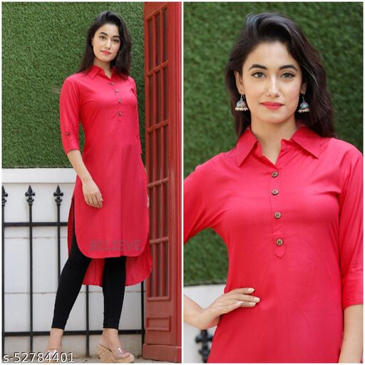 Siyaram Trends High Low Stylish Solid Rayon Kurti