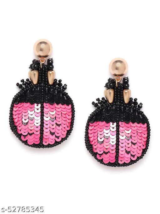 Gold-Plated Contemporary Black & Pink Bug Shaped Drop Earrings