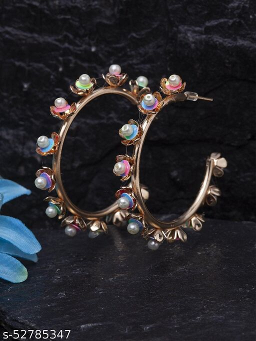 Gold-Plated Contemporary Multicolored Hoops