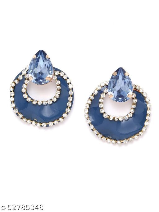 Gold-Plated Contemporary Navy Blue Earrings