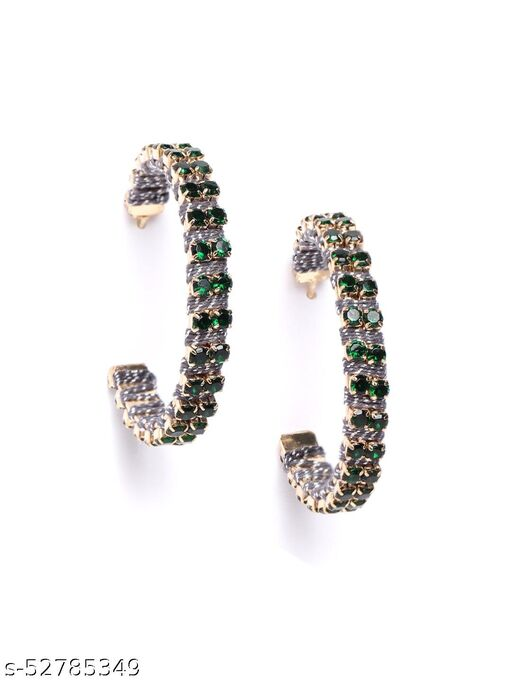 Gold-Plated Contemporary Green & Silver Half Hoops