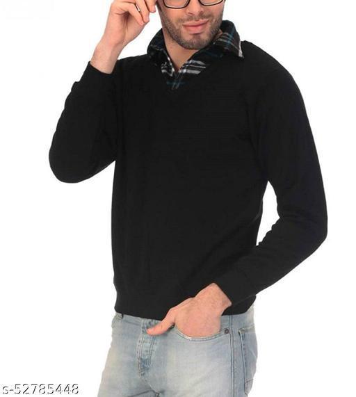 Men's Plain Full Sleeve Black Sweater