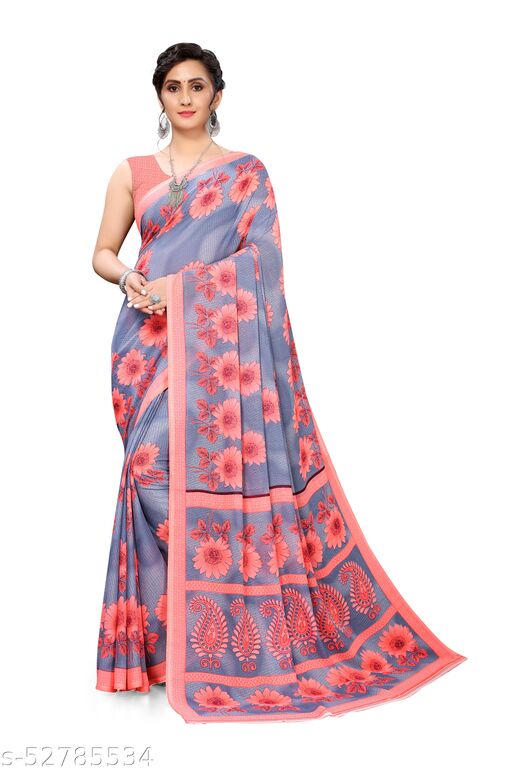 Grey Georgette Floral Printed Saree With Blouse.