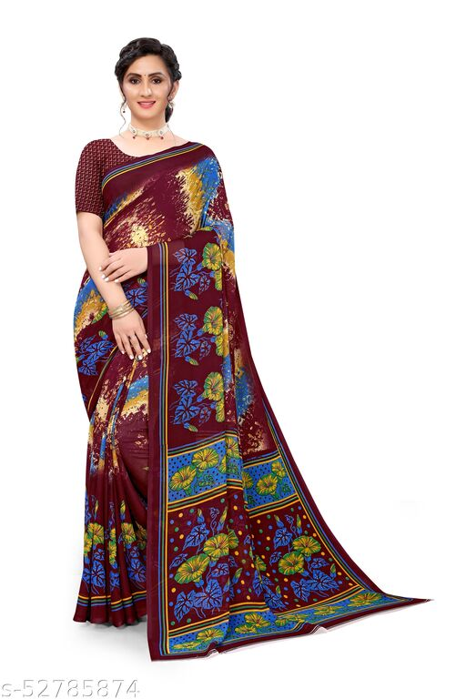 Maroon Georgette Floral Printed Saree With Blouse.