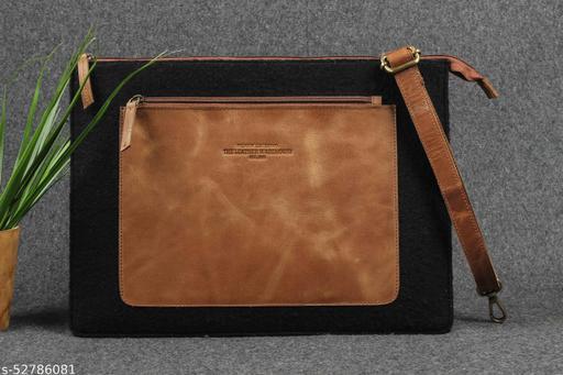 Genuine Leather & Felt Front Pocket/Compartment Handmade Unisex Laptop Sleeve Bag for MacBook 13 Inch