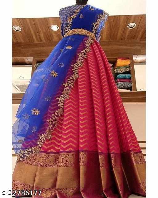 Kanjiveram Silk Zari lehanga with blouse along with cutwork Duppta