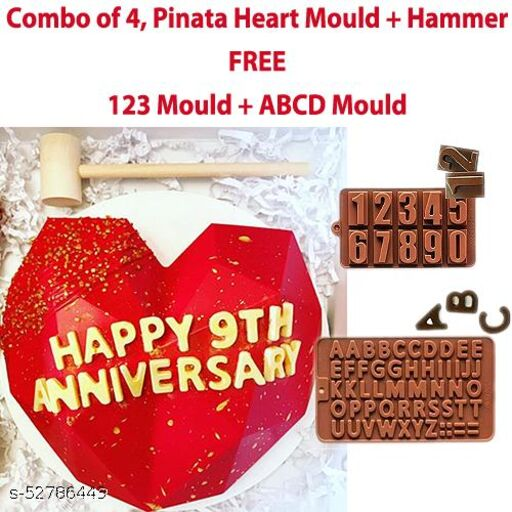 Heart Shape Pinata Cake Making Mould with Hammer, 123 Mould And ABCD Mould Combo