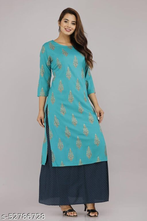 Rama Green Kurta Skirt Set - Rayon