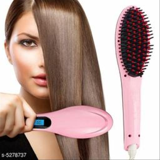 Fast hair straightener brush