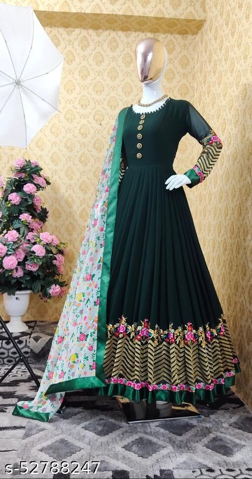 NEW Georgette Full Stitched Anarkali Partywear Festive Latest Designer Gown with digital printed duppatta