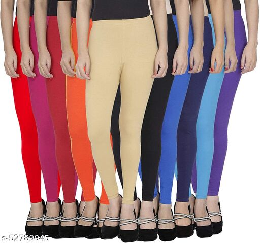TooLook Women's Slim Fit Ankle Length Leggings (Free Size) Pack of 10