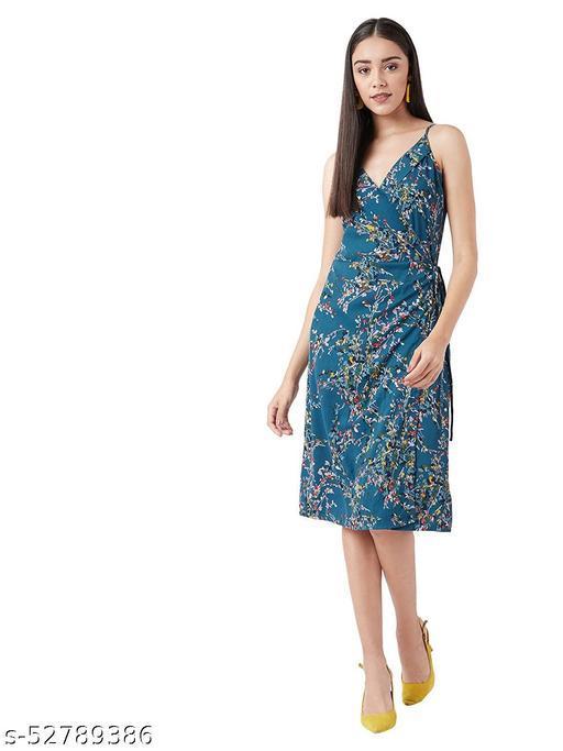 Olive Women's Polyester Wrap Knee-Length Dress