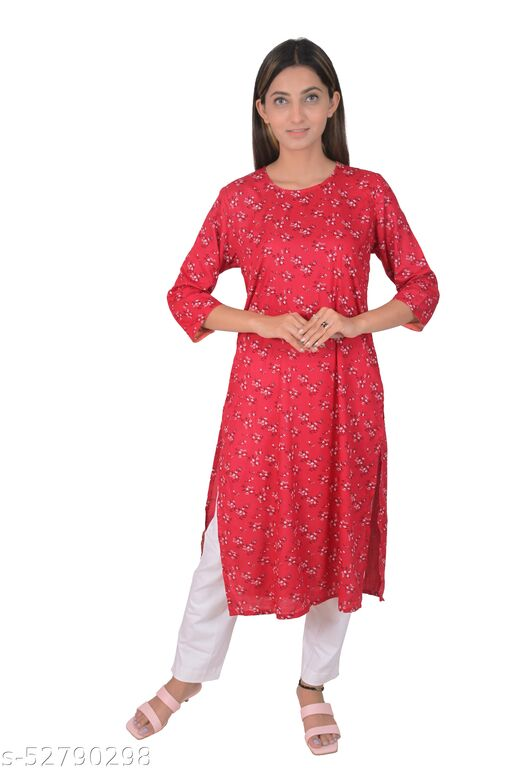Clothe Smiths Women Floral Printed Kurta - Red