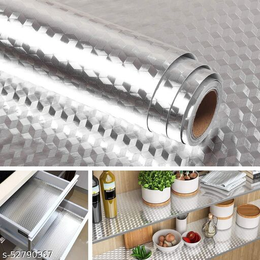 DGS ENTERPRISE Aluminum Foil Stickers, Oil Proof, Kitchen Backslash Wallpaper Self-Adhesive for Kitchen Sticker Anti-Mold and Heat Resistant for Walls Cabinets Drawers and Shelves  ( 300 x 60 ) cm SILVER